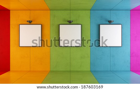 Colorful modern art gallery with floor and concrete walls - stock photo