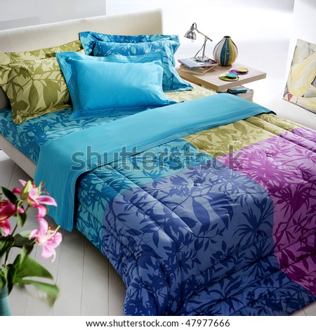 colorful modern bedroom - stock photo
