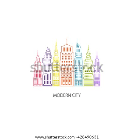 Colorful Modern Big City with Buildings and Skyscraper, Architecture Megapolis, City Financial Center , Flat , Architecture Concept, Logo Design Element, Emblem for Real Estate , Linear Style Design - stock photo