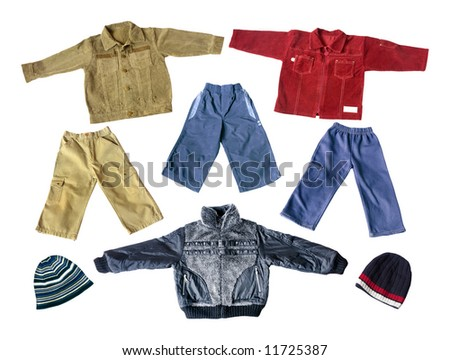 colorful modern boy's spring and autumn jackets and trousers isolated on white background - stock photo