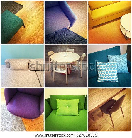 Colorful modern furniture. Interior design, collage of nine photos. - stock photo