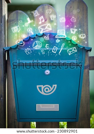 Colorful modern icons and symbols bursting out of a mailbox - stock photo