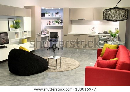 Colorful modern kitchen and living room. Elegant decorations