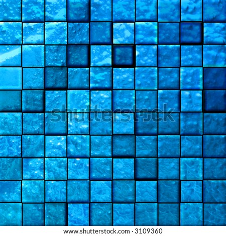 colorful modern mosaic tile in a bathroom blue