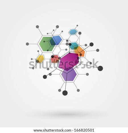 Colorful molecules - stock photo