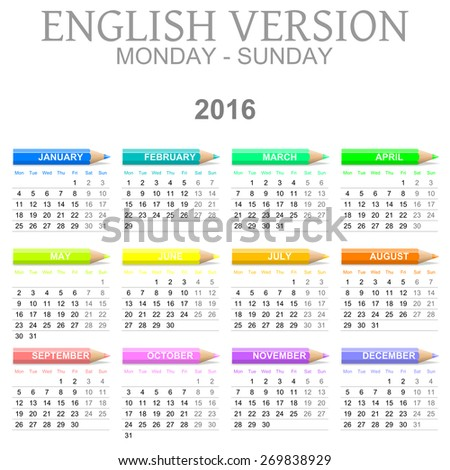 Colorful Monday to Sunday 2016 Calendar with Crayons English Version Illustration - stock photo