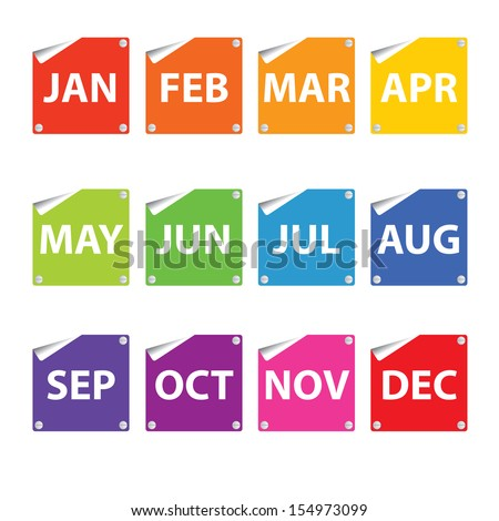 Colorful month stickers(icon, sign, symbol). - stock photo