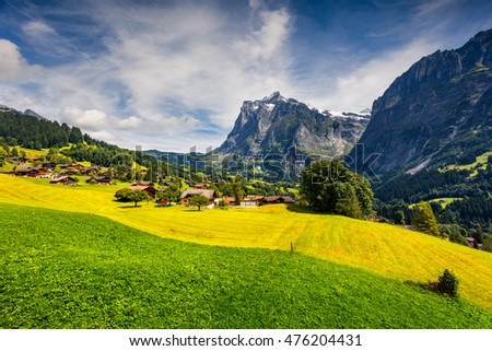 Colorful morning view of Grindelwald village valley from cableway. Wellhorn mountain, located west of Innertkirchen in the Bernese Oberland Alps. Switzerland, Europe.