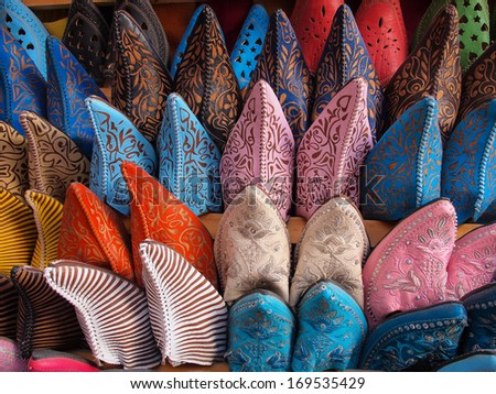 Colorful moroccan handmade leather shoes - stock photo