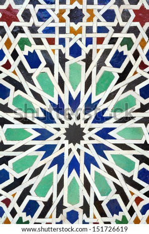 colorful moroccan mosaic wall as a nice background - stock photo