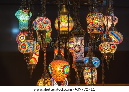 morrocan style lighting. Colorful Moroccan Style Lanterns Lamp Hanging Down From Ceiling. Morrocan Lighting
