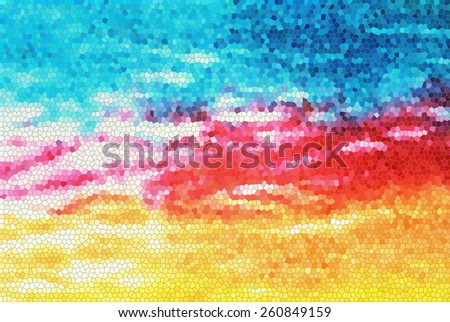 Colorful Mosaic Background with tie dye fabric..  - stock photo
