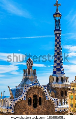 Colorful mosaic building in Park Guell Barcelona, Spain - stock photo