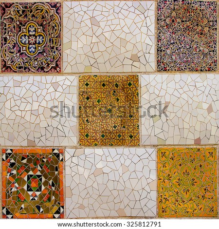 Colorful mosaic in famous Parc Guell in Barcelona, Spain. - stock photo