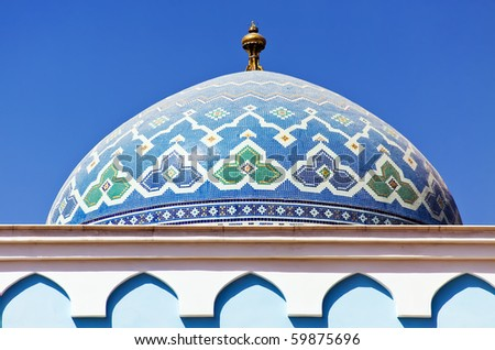 Colorful mosaic of an oriental roof - stock photo