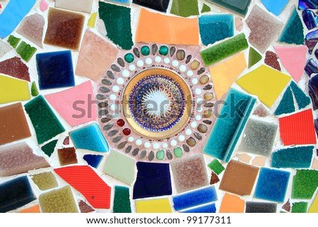 Colorful Mosaic thai style - stock photo
