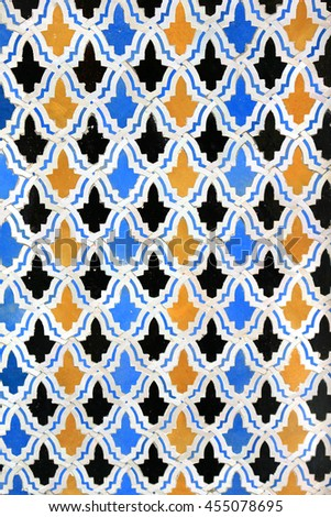 Colorful mosaic tile design on a Moroccan wall - stock photo