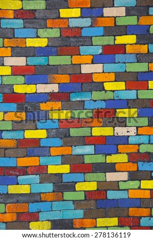 Colorful mosaic wall for background - stock photo