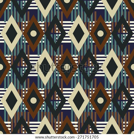 Colorful mottled seamless pattern. Abstract geometric ethnic print. Repeating folk background texture. Cloth design. Wallpaper, wrapping