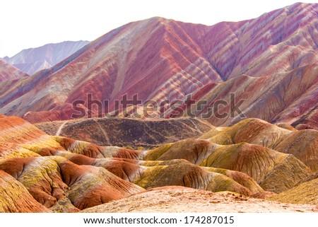 Colorful mountain in China ,Danxia Landform,Zhangye - stock photo
