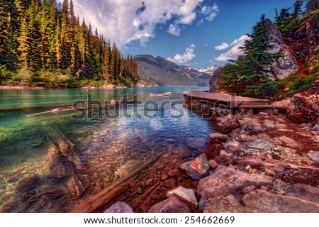 Colorful mountain lakeside with evergreen trees