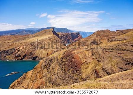Colorful mountainous landscape of Madeira Island - peninsula Ponta de Sao Lourenco - stock photo