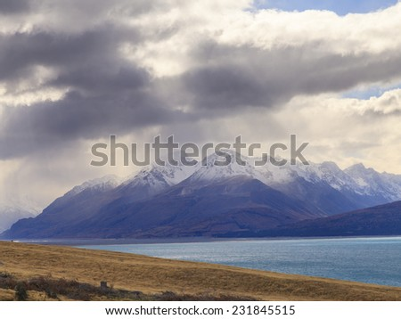 Colorful Mt.Cook valley and Lake Pukaki, Aoraki Mount Cook National Park, South Island, New Zealand. - stock photo