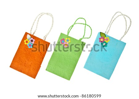Colorful mulberry paper bag isolated on white background - stock photo