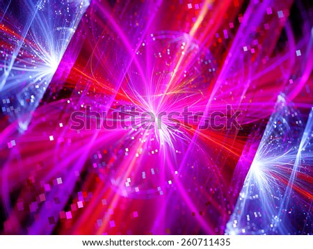 Colorful multidimensional energy field with particles, computer generated abstract background - stock photo