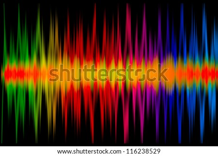 Colorful Music Graph on the black - stock photo