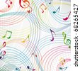 Colorful music note on a grey background. - stock photo