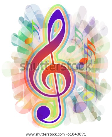 colorful musical background - stock photo