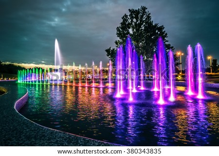 colorful musical fountain in Warsaw - stock photo