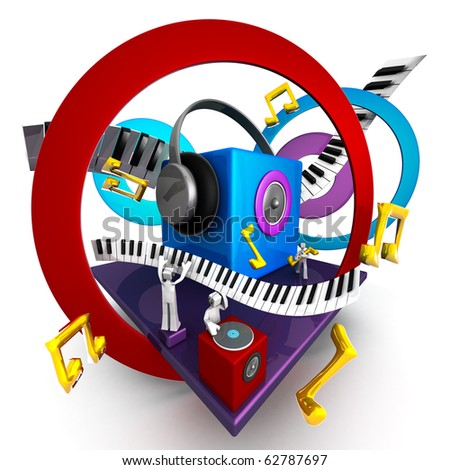 Colorful musical world stage with speaker piano 3d illustration - stock photo