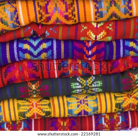 Colorful Native American Mayan Blankets showing patterns and bright colors - stock photo