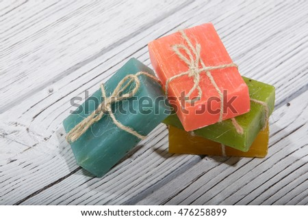 colorful natural herbal soaps