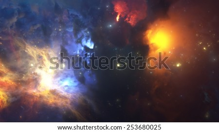 Colorful Nebula. Cloud of gas and dust blocks the light of distant stars. - stock photo