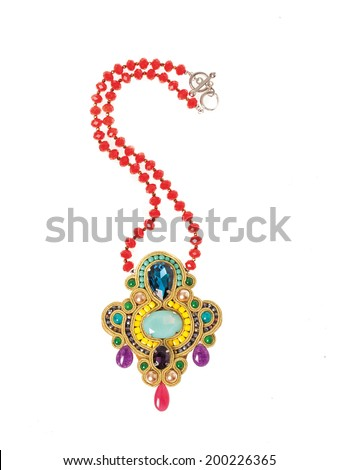 Colorful necklace isolated on white