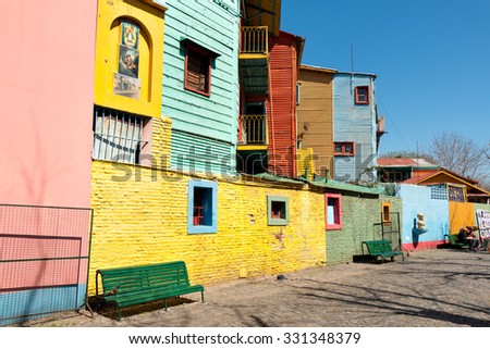 Colorful neighborhood La Boca, Buenos Aires Argentine - stock photo