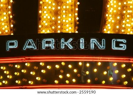 Colorful neon parking sign - stock photo