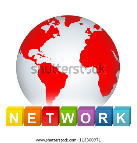 Colorful Network Cube Box With Red Earth For Networking Concept Isolated on White Background