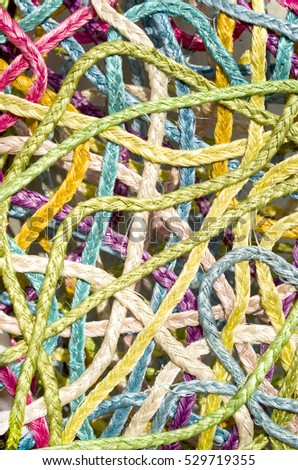 Colorful new artistic tracery of rattan closeup