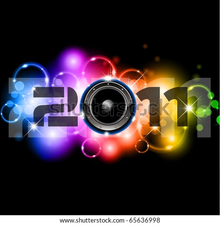 Colorful New Year Celebration Background with Glitter and Rainbow Colours - stock photo