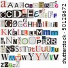 Colorful newspaper alphabet isolated on white - stock photo