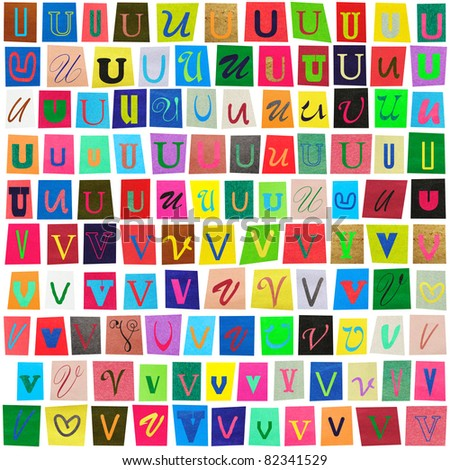 "Colorful newspaper alphabet of the letters ""U"" and ""V"" isolated on white - stock photo"