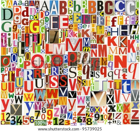 Colorful, newspaper, magazine alphabet with letters, numbers and symbols are isolated on a white background. - stock photo