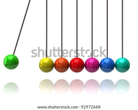 Colorful newton's cradle on white background - stock photo