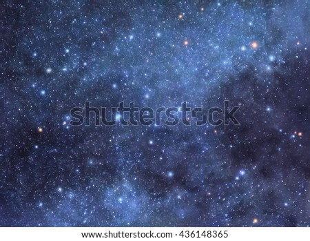 Colorful night sky filled with myriads of bright stars - stock photo