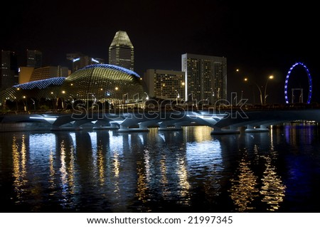 colorful night view of financial district - stock photo