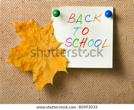 colorful notes , back to school with autumn leaf
